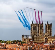 Red Arrows over Lincoln Cathedral by AviationPrints