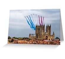 Red Arrows over Lincoln Cathedral Greeting Card