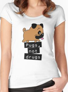 Little Pugs Not Drugs Women's Fitted Scoop T-Shirt
