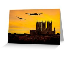 Two Lancasters over Lincoln cathedral Greeting Card