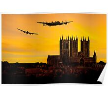 Two Lancasters over Lincoln cathedral Poster