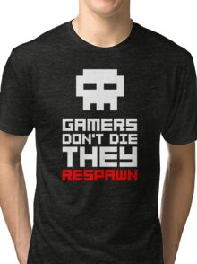 Pixel Skull Gamers Don't Die Tri-blend T-Shirt