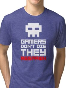 Pixel Skull Gamers Don't Die Tri-blend T-Shirt