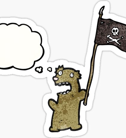 cartoon teddy bear waving pirate flag Sticker