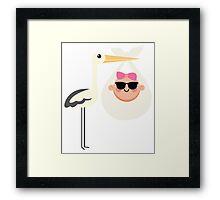 Stork with Baby Girl Emoji Cool Sunglasses Framed Print