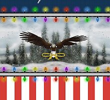 Patriotic Eagle Christmas Greeting Card by xgdesignsnyc