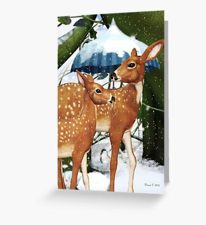 Fawn Deer Winter Snow Scene Greeting Card Greeting Card