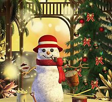 Tropical Snowman Holiday Greeting Card by xgdesignsnyc