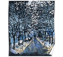 Winter ice and snow. Trees in snow.  Poster