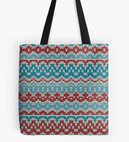 Colorful Christmas knitting pattern. Seamless winter ornament background. Tote Bag