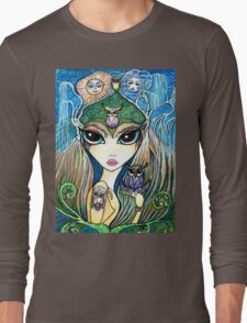 Owlete The Owl Queen, by Sheridon Rayment Long Sleeve T-Shirt