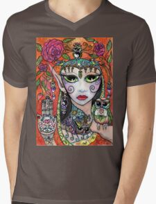 Gypsy Art Owl Oracle by Sheridon Rayment Mens V-Neck T-Shirt