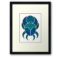 Dark Blue Scarab Framed Print