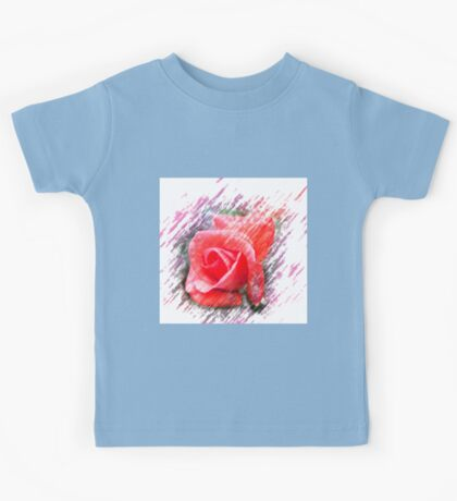 Digitally enhanced orange rose flower Kids Tee