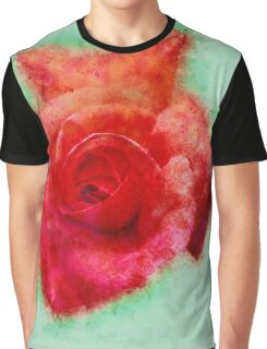 Digitally enhanced orange rose flower with green foliage background  Graphic T-Shirt