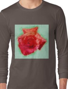 Digitally enhanced orange rose flower with green foliage background  Long Sleeve T-Shirt