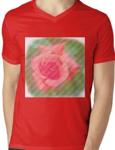 Digitally enhanced orange rose flower with green foliage background  Mens V-Neck T-Shirt