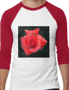 Digitally enhanced orange rose flower with green foliage background  Men's Baseball ¾ T-Shirt