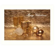 Merry Christmas in Gold Art Print