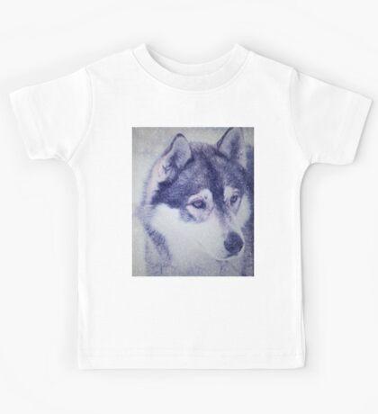 Beautiful husky dog portrait Kids Tee