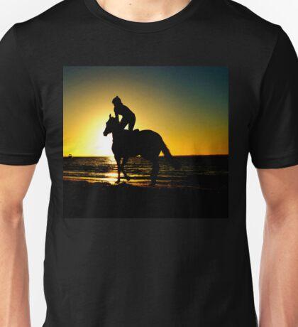 Horse rider, beach, sunset beautiful scenery Unisex T-Shirt
