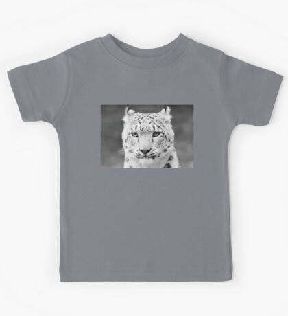 Snow Leopard Portrait Black and White Kids Tee