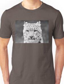 Snow Leopard Portrait Black and White Unisex T-Shirt