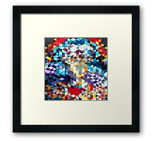 polygons pattern blue red yellow Framed Print