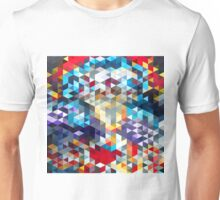 polygons pattern blue red yellow Unisex T-Shirt