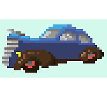 Blue pixel retro car Photographic Print
