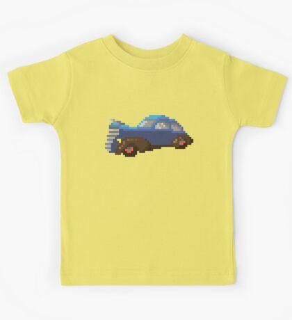 Blue pixel retro car Kids Tee
