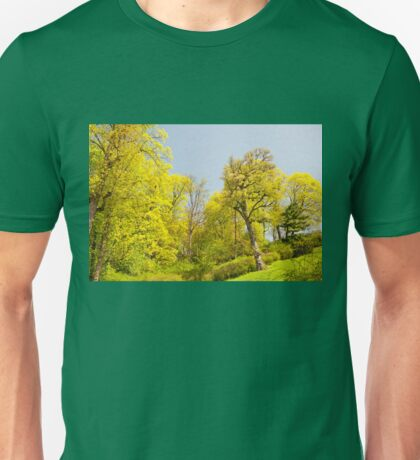 Green spring trees view Unisex T-Shirt
