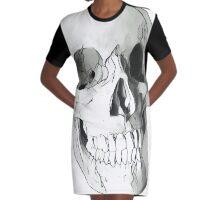 Human skull Graphic T-Shirt Dress