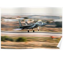 Israeli Air force F-15I Fighter jet at takeoff  Poster