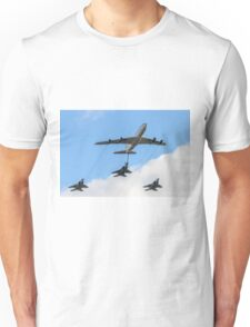 3 Israeli Air force Fighter jet F15C being refueled by a Boeing 707 in flight Unisex T-Shirt