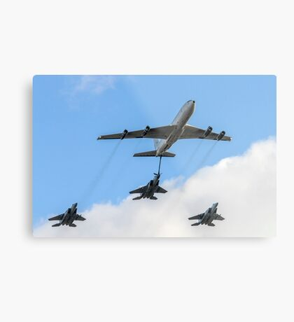 3 Israeli Air force Fighter jet F15C being refueled by a Boeing 707 in flight Metal Print