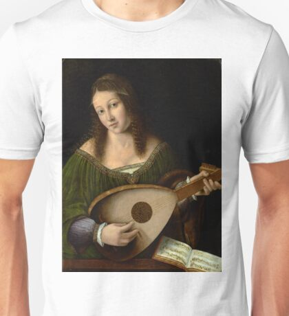 Lady Playing a Lute - Bartolomeo Veneto - ca. 1515 Unisex T-Shirt