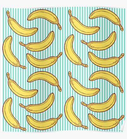 Banana Seamless nature seamless vector pattern, hand drawn sketch etch engraving vector illustration. Fresh organic food. Fruit vintage banana pattern. Poster