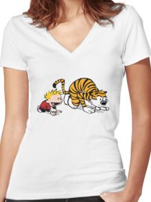Calvin Hobbes -sprinter runner Women's Fitted V-Neck T-Shirt
