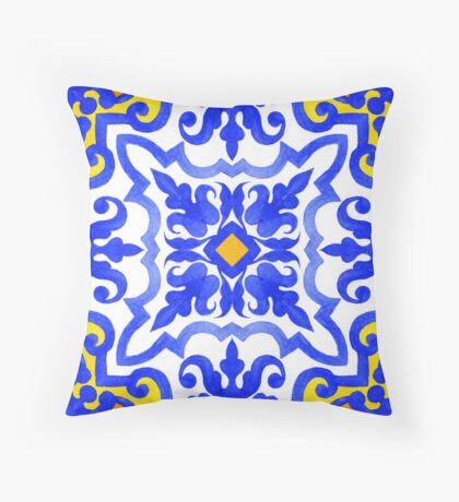 Portuguese azulejo tiles. Blue and white gorgeous seamless patterns. Throw Pillow