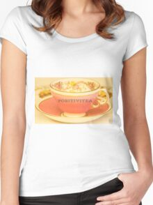 Positivitea, typography on classic tea cup print Women's Fitted Scoop T-Shirt