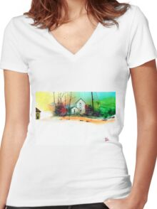 White Houses Women's Fitted V-Neck T-Shirt