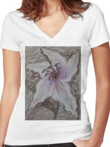 Stargazer Lily in Pastel Women's Fitted V-Neck T-Shirt