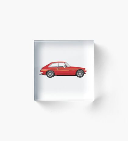Mgb Gt Red  Vintage Classic UK Acrylic Block