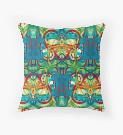 Blue-Green Tribal Design Throw Pillow