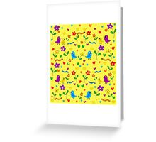 Cute birds and flowers pattern - yellow Greeting Card
