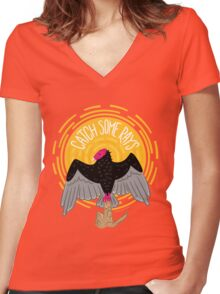 Catch Some Rays - Vulture Women's Fitted V-Neck T-Shirt