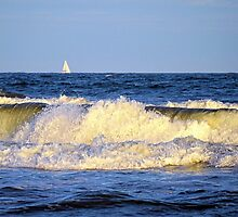 Crashing Waves and White Sails by Sharon Woerner