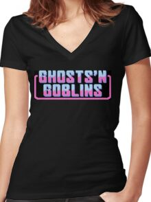 GHOSTS'N GOBLINS [version C] Women's Fitted V-Neck T-Shirt