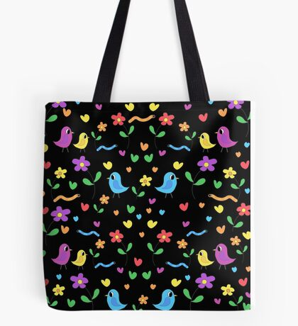 Sweet birds and flowers pattern Tote Bag